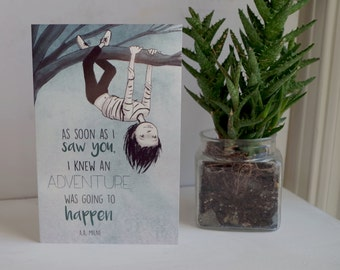 Adventures with Josie in a Tree Card- Blue