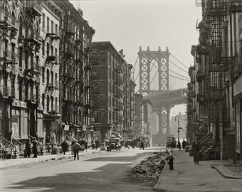 Pike and Henry Streets - New York City - 1935 - Vintage - Photo - Manhattan - Photography - NYC - Brooklyn Bridge - History - Print - Art