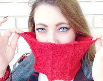Hand knitted lace cowl 100% alpaca yarn