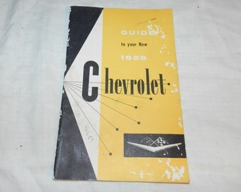 Vintage 1959 Chevrolet car Owners Guide - Collectible General Motors Chevy car Manual / Booklet - Automobilia - Ephemera                2-23