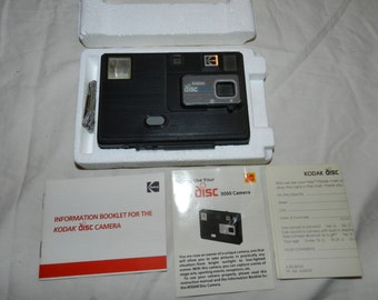 Kodak Disc / disk 3000 Camera in box with paperwork for Use, Display or Found, Altered. Assembled, Mixed Media, collage Art - Collectible9-7