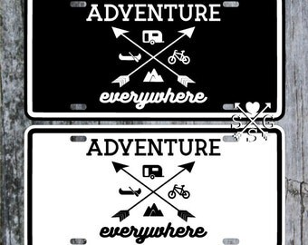 Adventure Everywhere Wanderlust Hipster Camping License Plate Car Tag