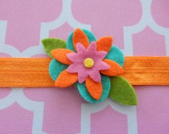 Turquoise, Orange & Pink Felt Flower Headband