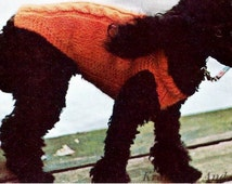 Knitted Cable Dogs Sweater, Knitting Pattern. PDF Instant Download.