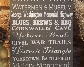 Yorktown Virginia Typography Sign