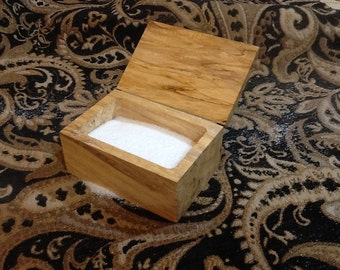 Wooden salt box with lid