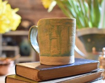 Tall ceramic mug patina green