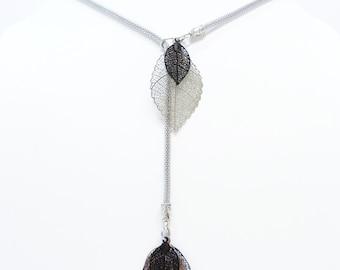 Adjustable necklace steel leaves with filigree
