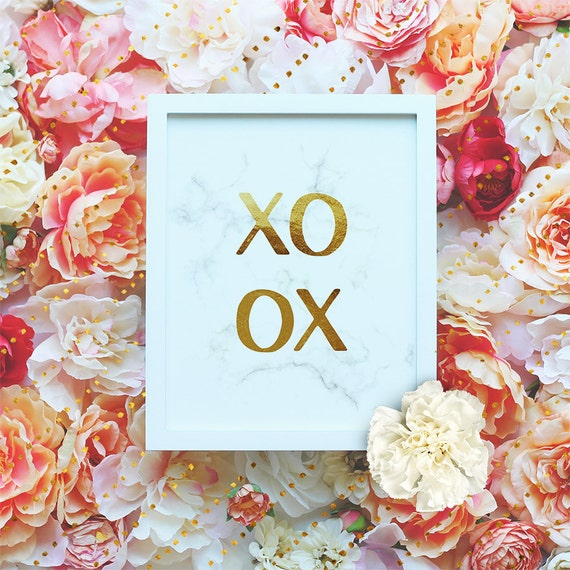 """XOXO Printable Wall Art, Gold, Marble poster, Love quote poster, 8x10"""", Funny Printable, Modern minimalist wall art Instant Download"""