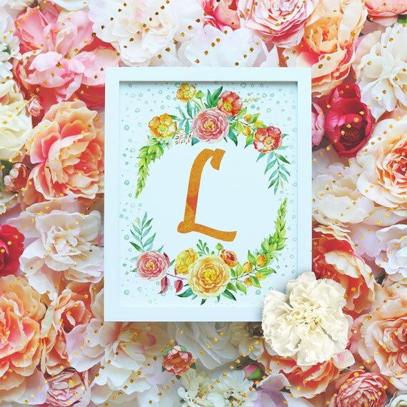 "Monogram Letter ""L"" Printable Wall Art - 8x10"" - ""L"" Name Art Print- Wreath Initial - Floral Monogram - Nursery Monogram- Baby Name Sign"