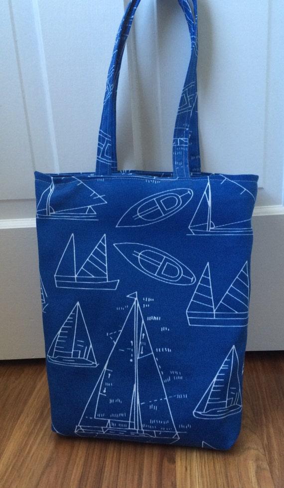 Blue Nautical Sailboat Tote Bag Handmade with Sunbrella Heavy Duty Fabric