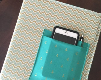 1 inch 3 ring binder cover - Gold and Teal chevron