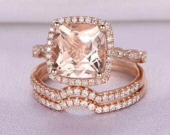 Wedding ring set rose gold Etsy