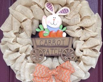 Easter wreath, bunny wreath, easter burlap wreath, spring wreath, spring burlap wreath, easter bunny wreath, rustic easter wreath