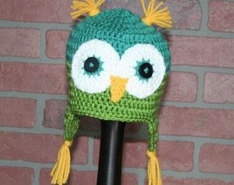 Owl Crocheted Earflap Hat - FREE SHIPPING