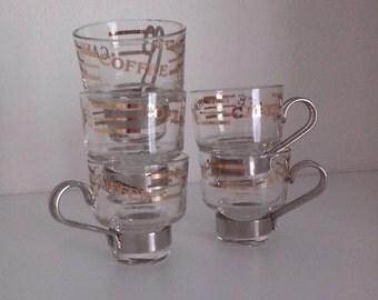 5 glass cups espresso coffee