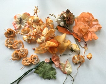 Orange Vintage Millinery Flowers Supplies FREE SHIPPING to USA