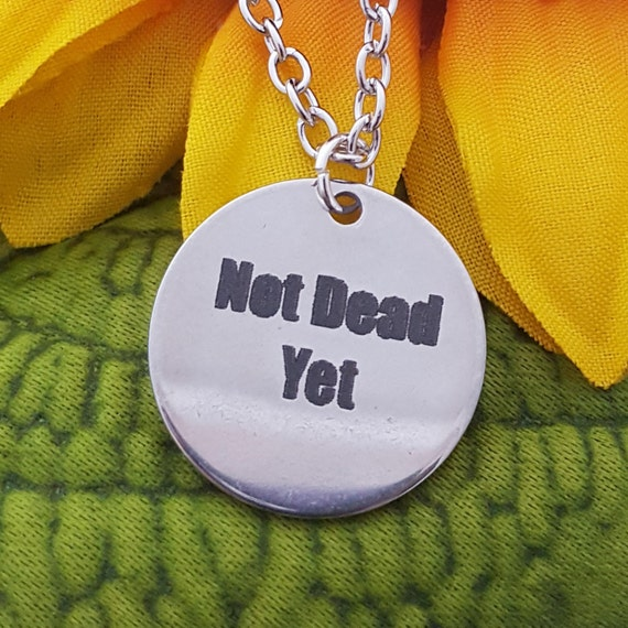 Crossfit Jewelry, CrossFit Necklace, Runner Gift, Not Dead Yet Charm Necklace, Inspirational Quotes Gift, Fitness Jewelry, Team Coach Gifts