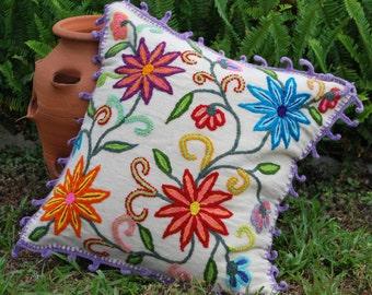 Pillow Cover, Handwoven, Sheep Wool Pillow Case, Interior Decorative, Handmade, Peruvian Embroidered Pillow Case