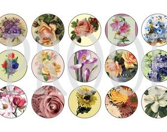 Digital Bottle Cap Image Sheet - Vintage Flowers - 1 Inch Digital Collage - Instant Download