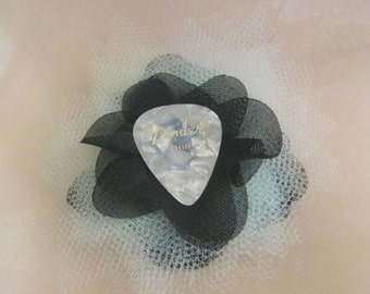 Mint & Black Fabric Flower with Ivory Fender Guitar Pick