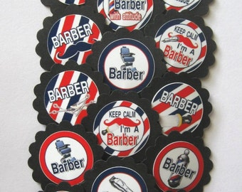 Barber Cupcake Toppers/Party Picks  (15pc Set) Item #1414