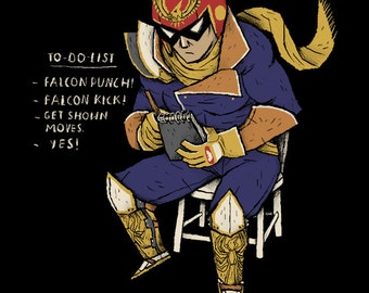 falcon to-do-list captain falcon T-shirt / falcon punch shirt f-zero tee / smash bros t-shirt smash 4 tee / funny nintendo shirt