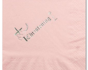 Girls Christening Napkins - Religious - Pack of 50 - Foil printed- colour & size choice - FREE UK SHIPPING!