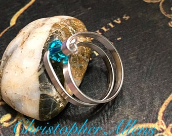 Blue crystal spiral ring