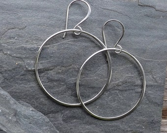 Extra Large sterling hoop earrings / Sterling silver circle earrings / Extra Large dangle hoop earrings