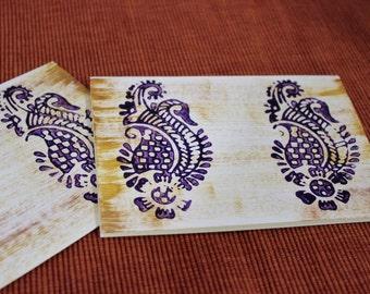 Set of 2 Blank Note Cards, Hand printyed, block printed