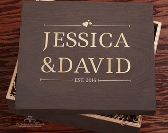 A Gift Remembered Handcrafted Custom Wood Gift Box - Personalized with your Names! - Birthdays, Reception Gifts, Wedding Gift, Anniversary
