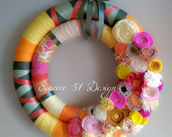 Colorful Double Wrapped Wreath with Fabric Ribbon