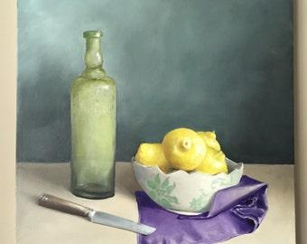 Lemon Bottle Wall Art Original Oil Painting Wall Art Food Art Lemon painting Fruit Painting Kitchen Painting Lemon Painting Kitchen Decor