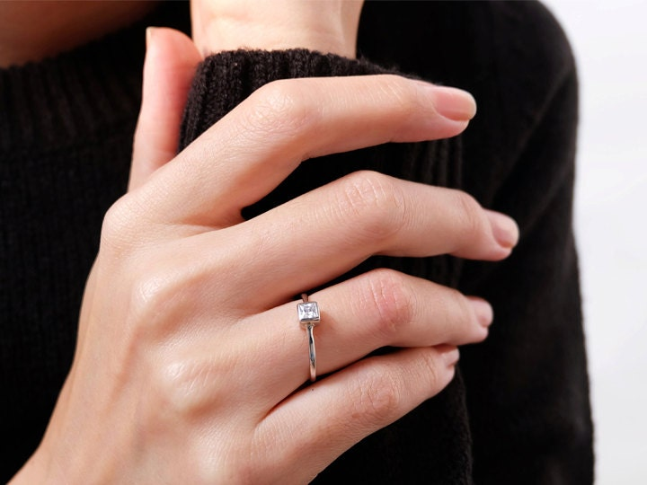 Sovats 925 Silver White Cubic Zirconia Wedding Engagement Bridal Ring Size 5 12 Ebay
