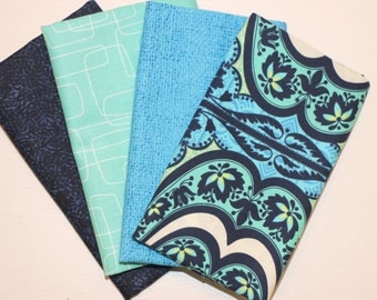 SALE - 4 Fat Quarters (navy and teal) - Cotton fabric