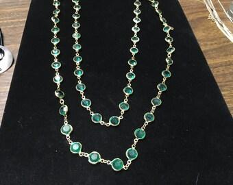 Vintage Swarovski Crystal Necklace, Goldtone, Green Crystal