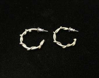 Vintage Earings, Hoops, Silvertone