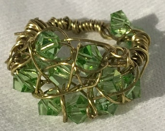 Green Swarovski Crystal Wire Wrapped Ring