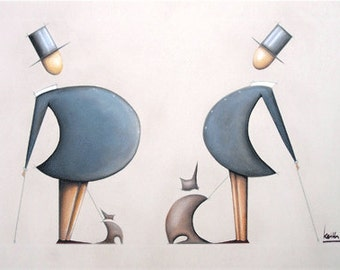 Tops And Tails - original A1 canvas wall art print
