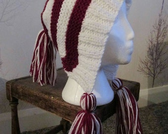 Hand knitted hassled pixie hat