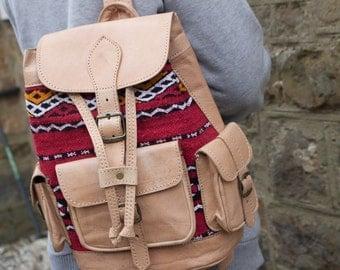 Handmade Kilim Backpack , Moroccan Leather , Berber Style , Vintage , Boho backpack , 100% berber leather Rucksack , Carpet Backpack