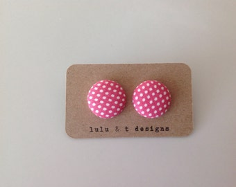 Pink polka dot fabric covered button earrings
