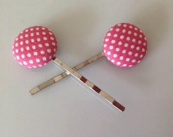 Pink polka dot Bobby pin, Polka dot fabric covered button bobby pin pair