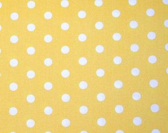 "Robert Kaufman Pimatex Basics Polka Dot Pale Yellow/White Fabric-  44"" wide"