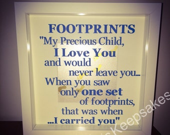 Footprints in the sand,  box frame, spiritual, religious, faith, inspirational gift, gift of hope, religous gift, biblical gift, healing