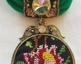 Scarves with Handmade Palestinian Embroidery Pendants
