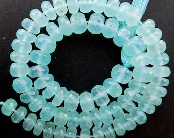 """75 BEADS IN AN 10"""" strand of aqua chalcedony micro faceted 6-7 mm rondelle beads"""