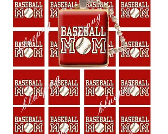 24 Baseball Mom Red Scrabble Tile (0.75 in × 0.75 in) Images Photo Quality 4x6 Sheet Digtal Download Printable for Jewelry Team Support