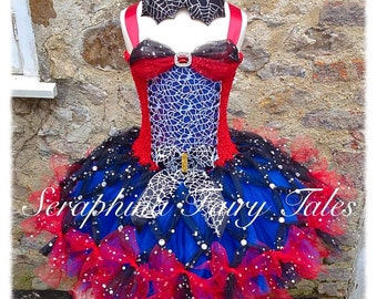 Spider Web Superhero Lined Tutu Dress Handmade by Seraphina Fairy Tales.